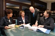 C. Bylow, M. Jung, L. Sauer und A. Dillinger beim Pressegespräch (Foto: H. Pfeifer)